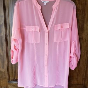 Candie's Roll Sleeve Blouse Sheer Pink Size M